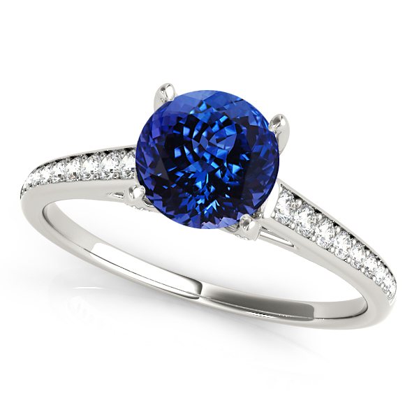 Stylish Tanzanite Engagement Ring with Unique Side Stones