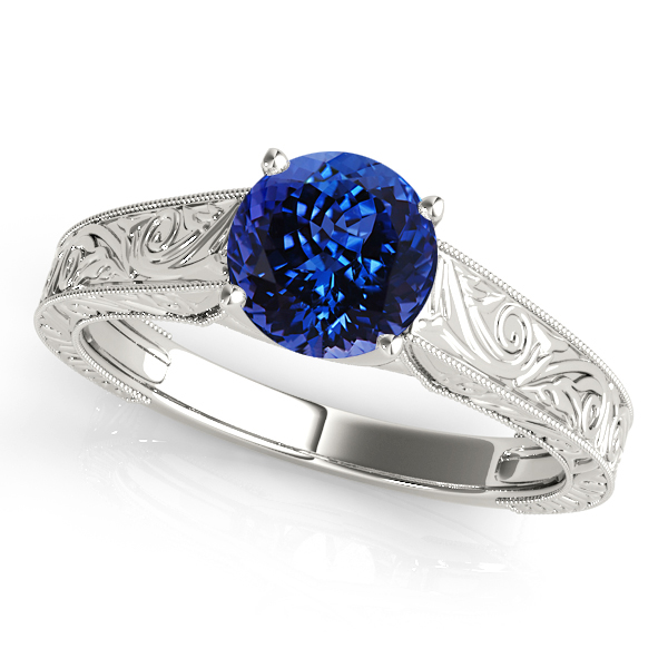Fine Vintage Tanzanite Engagement Ring with Filigree Design