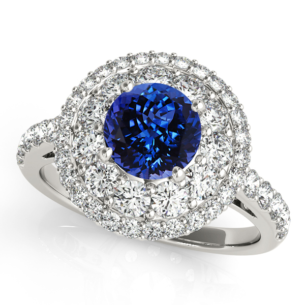 Unprecedented Double Halo Tanzanite Engagement Ring