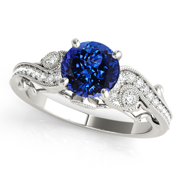 Curved Tanzanite Engagement Ring with Vintage Filigree
