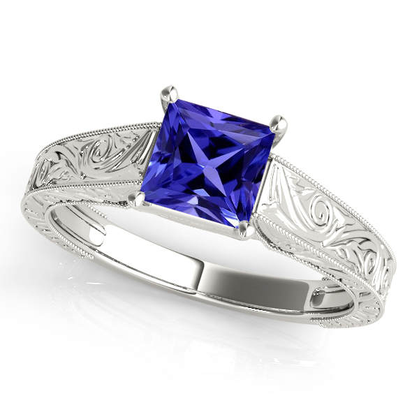 Exquisite Princess Cut Tanzanite Vintage Engagement Ring