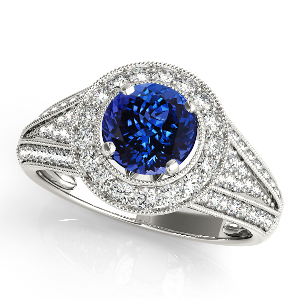 Cathedral Tanzanite Engagement Ring with Halo