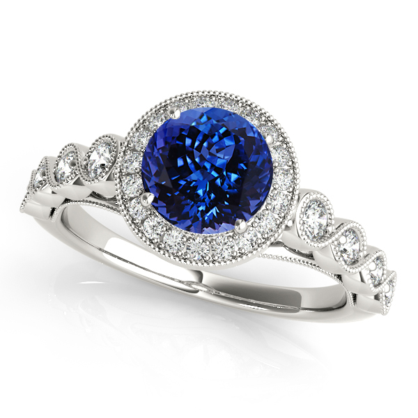 Magnificent Vintage Filigree Tanzanite Halo Engagement Ring