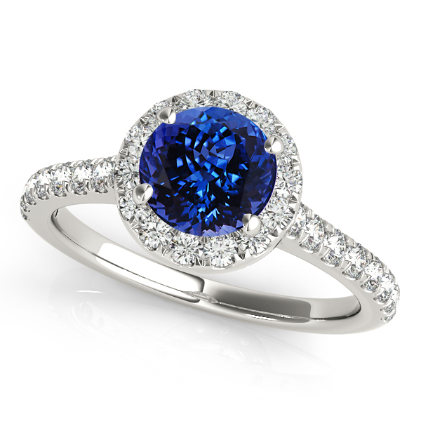 Classic Round Halo Tanzanite Engagement Ring