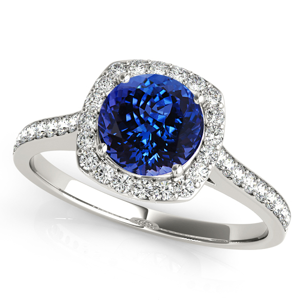 Cushion Halo Tanzanite Engagement Ring White Gold