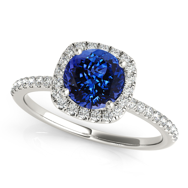 Cushion Shaped Halo with Round Tanzanite Engagement Ring