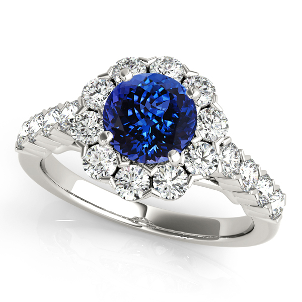 Fine Flower Halo Tanzanite Engagement Ring in White Gold