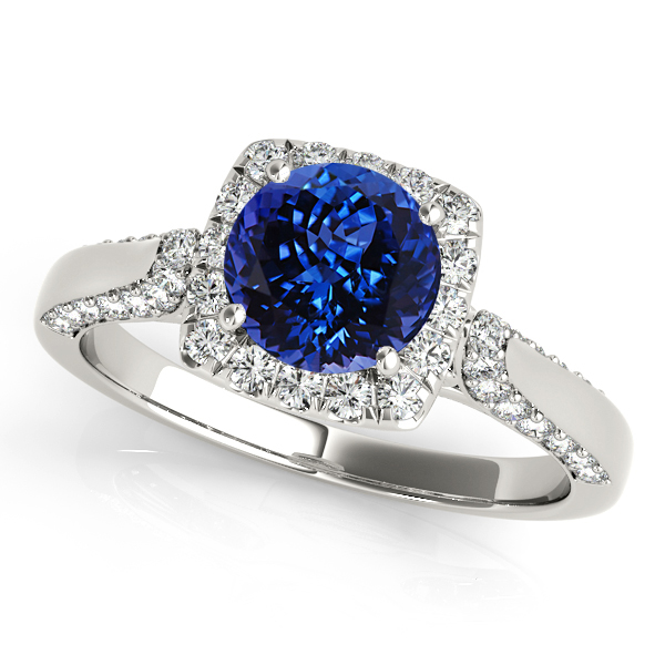 Square Halo Tanzanite Engagement Ring in White Gold