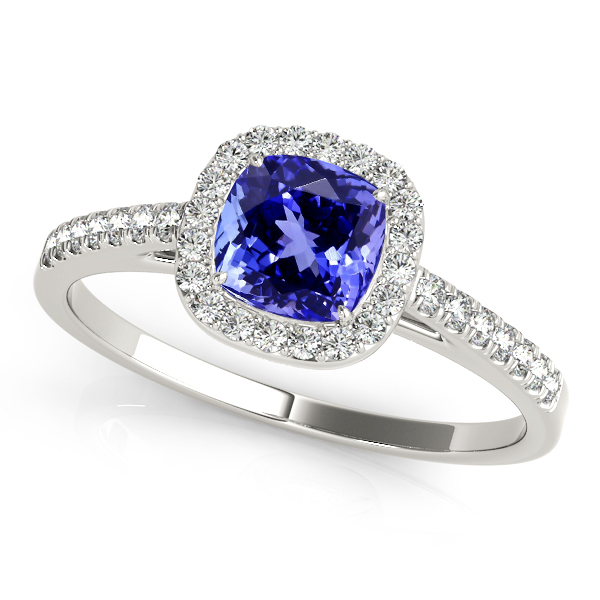 Cushion Cut Tanzanite Engagement Ring