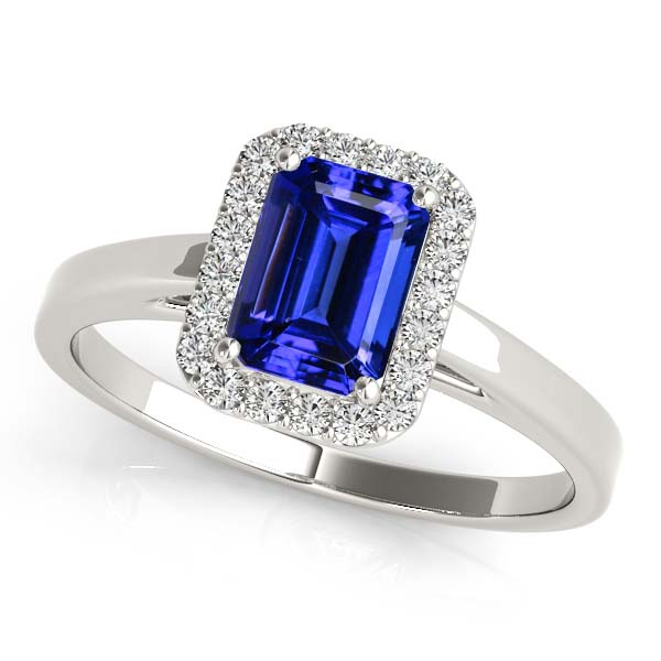 Emerald Cut Tanzanite Halo Engagement Ring White Gold