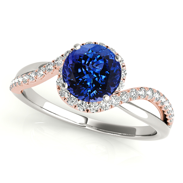 Tanzanite Engagement Ring with Glamorous White and Rose Gold Bypass
