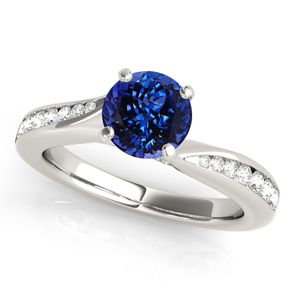 Exquisite Side Stone Tanzanite Engagement Ring Curved White Gold