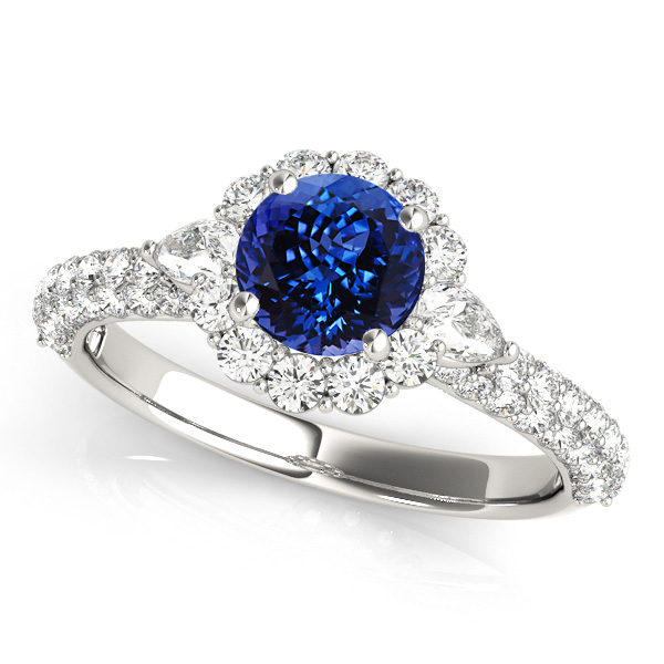 Flower Halo Tanzanite Engagement Ring White Gold