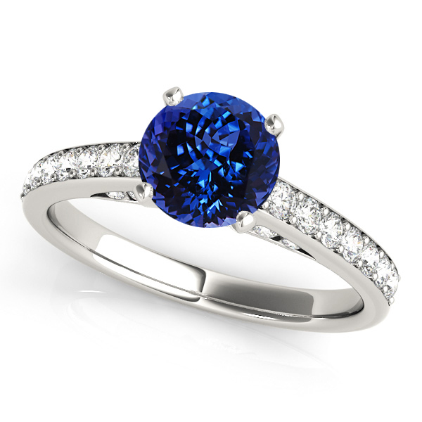 Fine Tanzanite Engagement Ring in White Gold