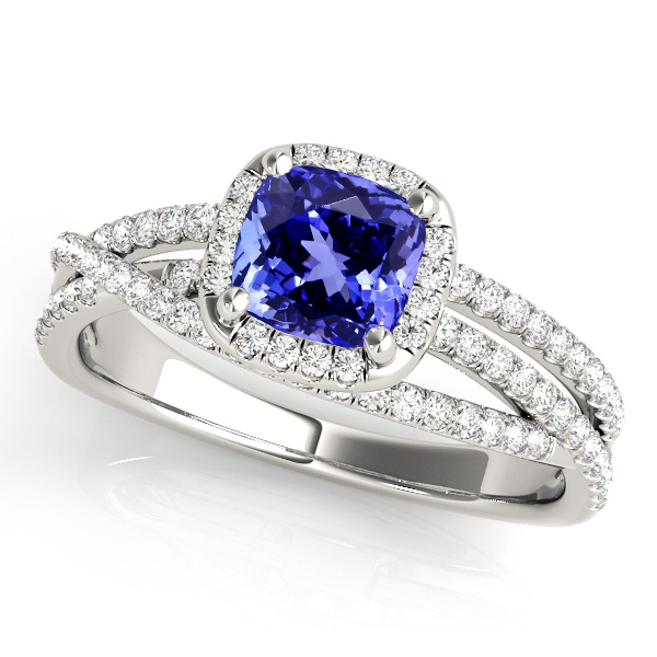 Cushion Cut Tanzanite Engagement Ring with Split Shank