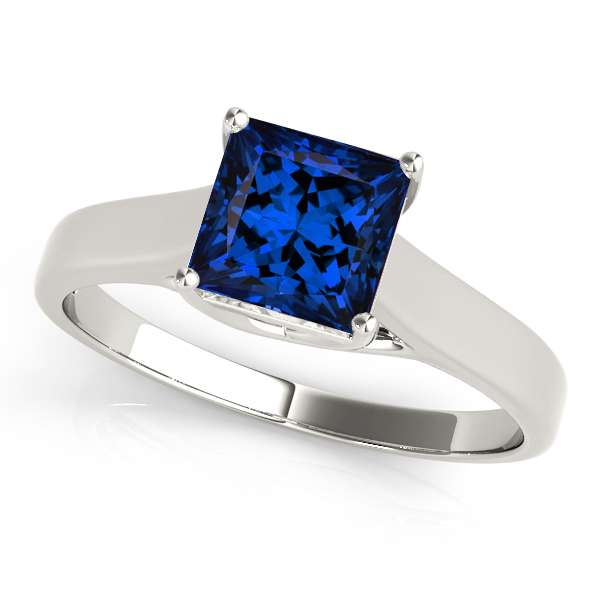Princess Cut Tanzanite Solitaire Engagement Ring White Gold
