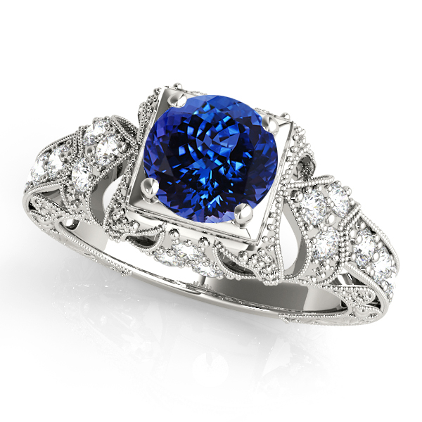 Extravagant Vintage Engagement Ring Round Tanzanite