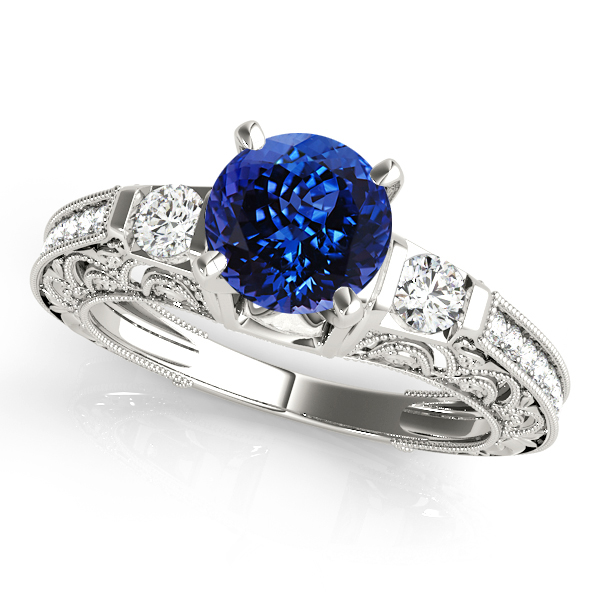 Classic Vintage Tanzanite Engagement Ring White Gold
