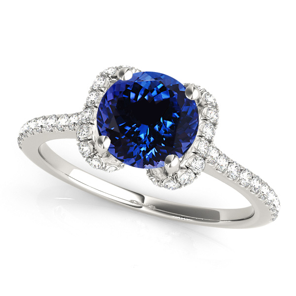 Unique Round Halo Tanzanite Engagement Ring