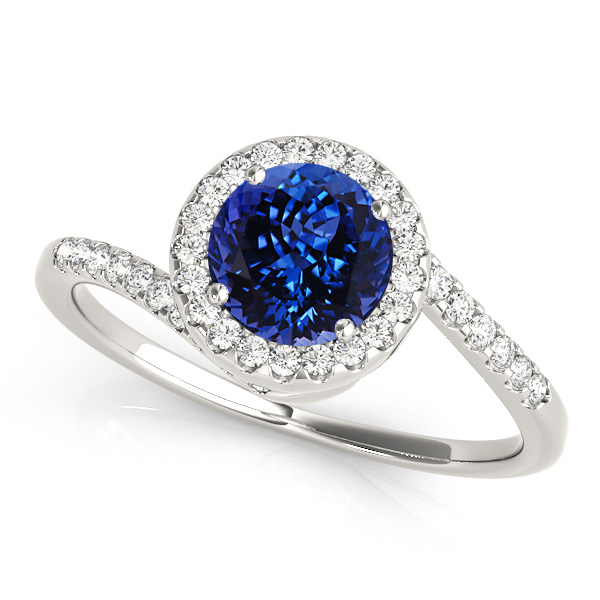 Lovely Halo Tanzanite Engagement Ring Curved Bypass