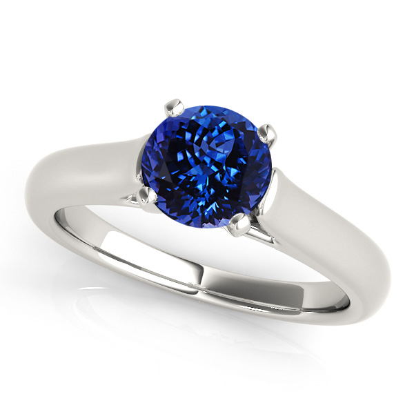 Solitaire Tanzanite Engagement Ring in White Gold