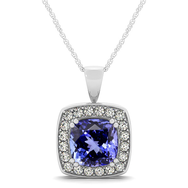 Attractive Dark Blue Cushion Tanzanite Halo Necklace