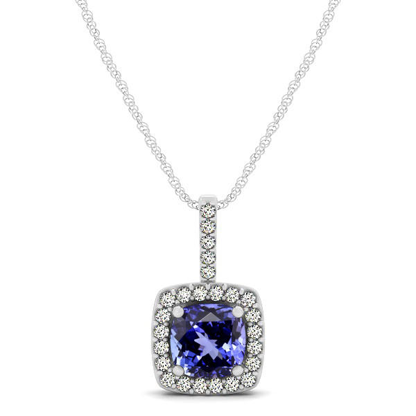 Cushion Tanzanite Square Halo Necklace