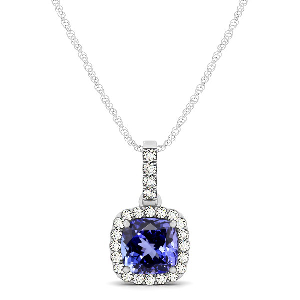 Elegant Cushion Tanzanite Halo Pendant Necklace