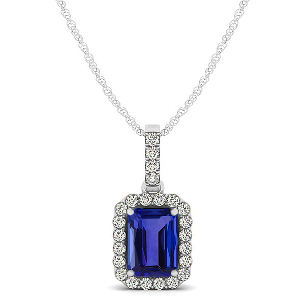 Classic Emerald Cut Tanzanite Necklace with Halo Pendant