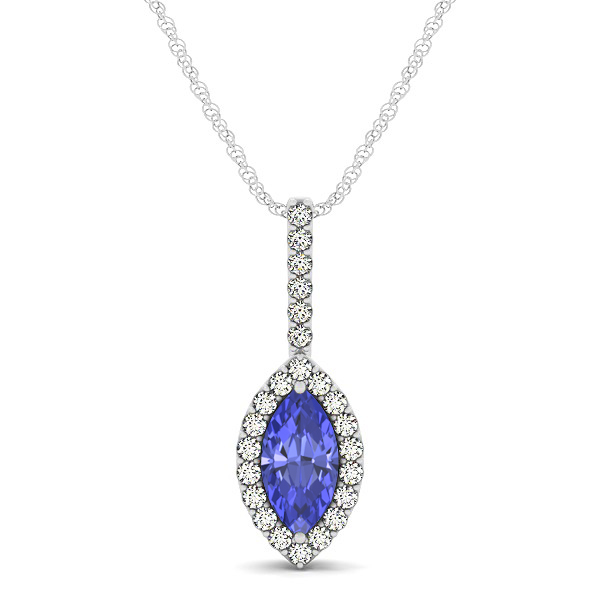 Fashionable Halo Marquise Cut Tanzanite Necklace