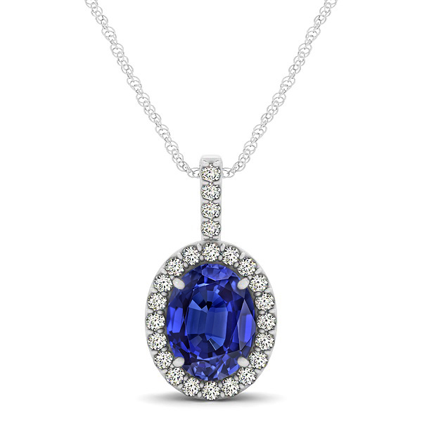 Classic Drop Halo Necklace with Oval AAA Tanzanite Pendant
