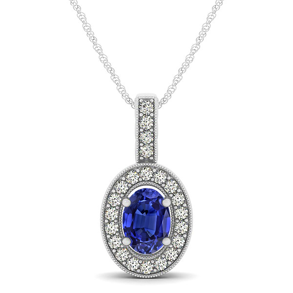 Vintage Oval Cut Tanzanite Halo Necklace