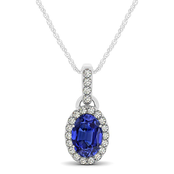 Lovely Halo Oval Tanzanite Necklace in Gold, Silver or Platinum