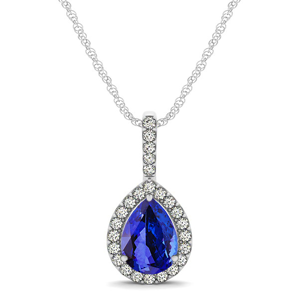 Classic Drop Necklace with Pear Cut Tanzanite Pendant