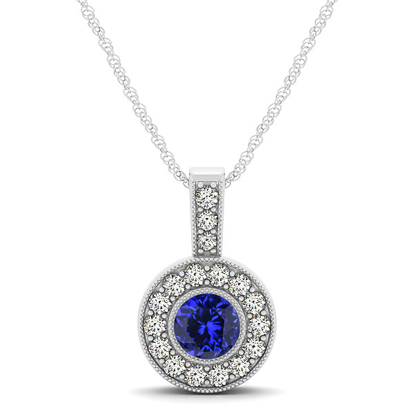 Dark Blue AAA Round Tanzanite Vintage Halo Drop Necklace