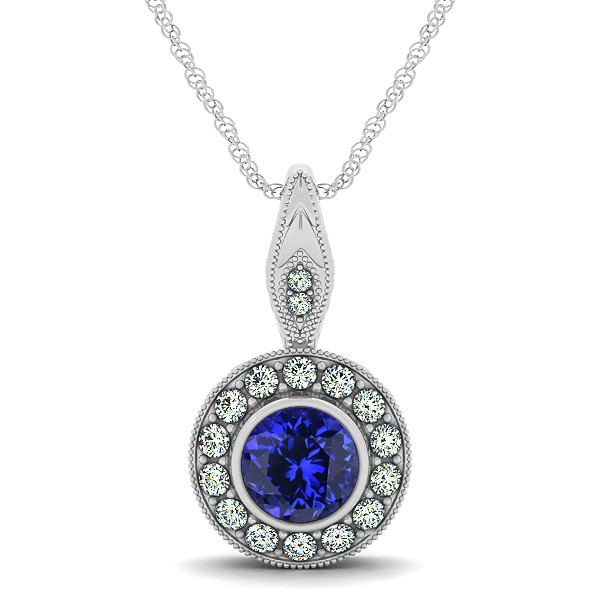 Vintage Tanzanite Necklace with Round Halo Circle Pendant