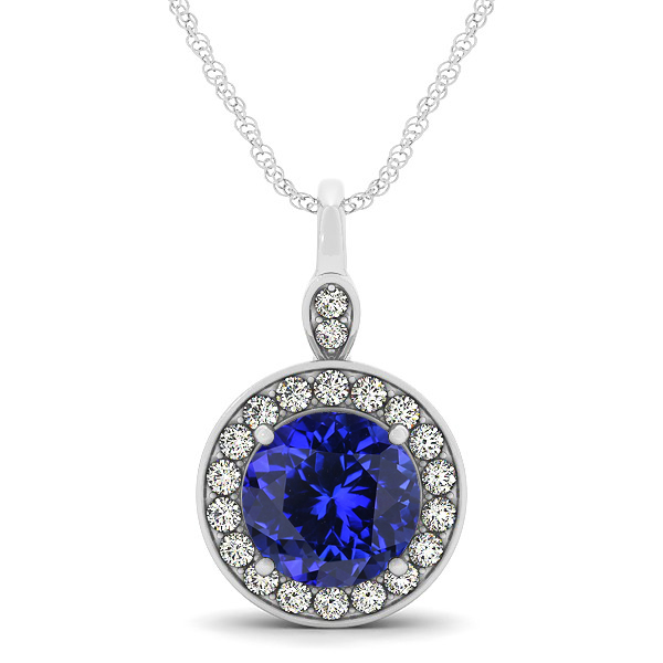 Halo Drop Round Cut Tanzanite Necklace