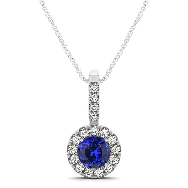 Round Cut Tanzanite Halo Pendant & Necklace