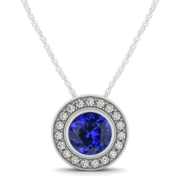 Classy Halo Necklace with Round Cut Tanzanite Pendant