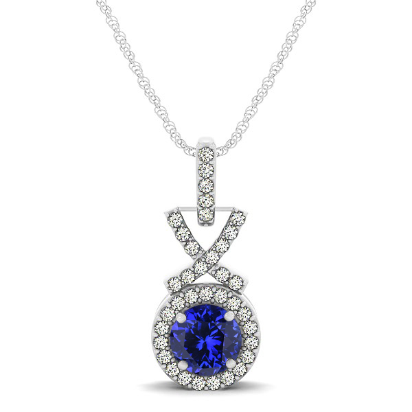 Modern XO Round Tanzanite Pendant Necklace