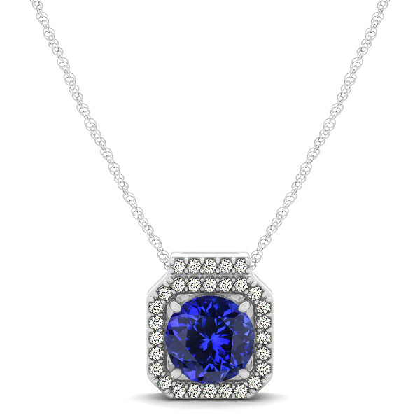 Square Halo Necklace with Round Cut Tanzanite Pendant
