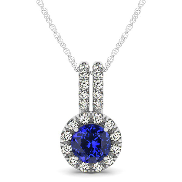 Luxury Halo Drop Necklace with Round Cut Tanzanite Gemstone