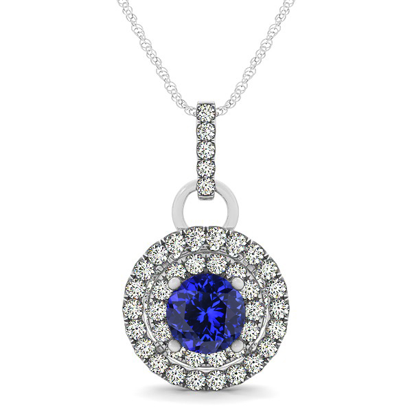 Royal Dual Halo Tanzanite Necklace with Circle Pendant