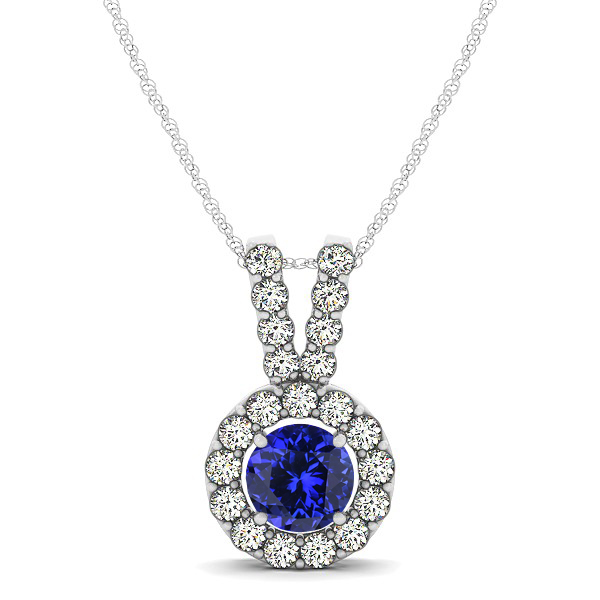 Classique V Neck Halo Necklace with Round Cut Tanzanite
