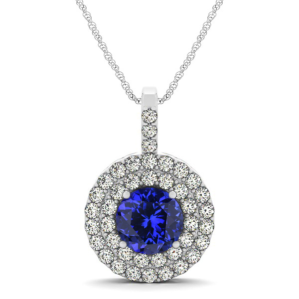 Designer Circle Double Halo Tanzanite Necklace