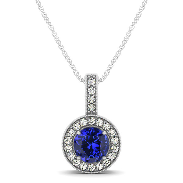 Vintage Halo Necklace Round Tanzanite Pendant