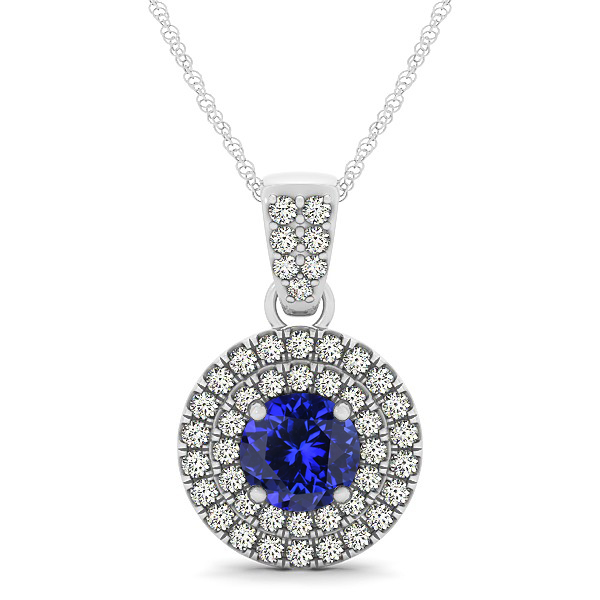 Double Halo Round Tanzanite Circle Neklace