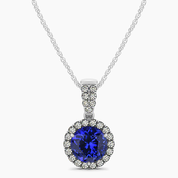 Gorgeous Drop Halo Necklace Round Cut Tanzanite VS1