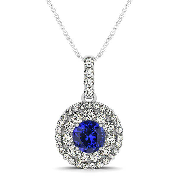 Tanzanite Necklace Halo