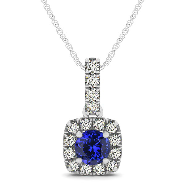 Peculiar Halo Side Stone Round Tanzanite Drop Necklace